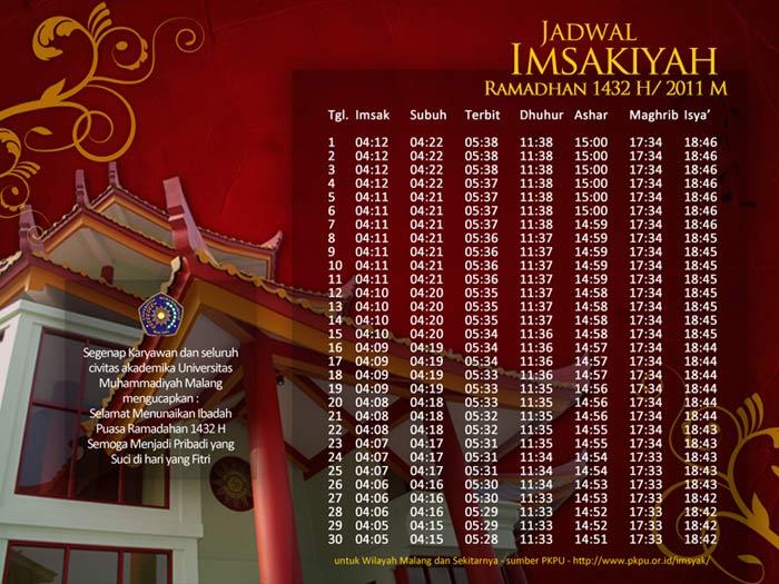Jadwal Imsakiyah Ramadah 1432 H